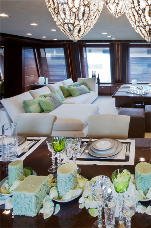 The CRN 60 J'ade superyacht living area
