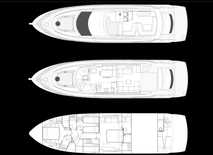 Boats for sale Miami - Sunseeker Manhattan 63 layout